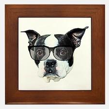 Boston terrier glasses Framed Tile