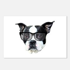 Boston terrier glasses Postcards (Package of 8)