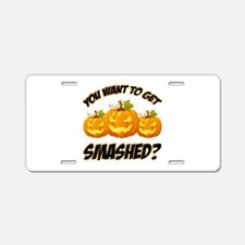 Smashed Happy Halloween Aluminum License Plate
