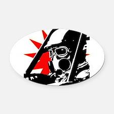 Drag Racer Oval Car Magnet