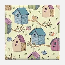 Cute Birdhouses Tile Coaster