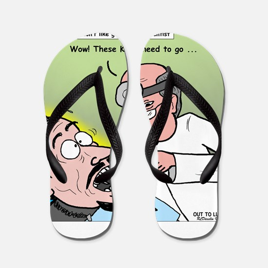 Dracula at the Dentist Flip Flops