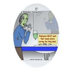 Zombie Restaurant Employees Ornament (Oval)