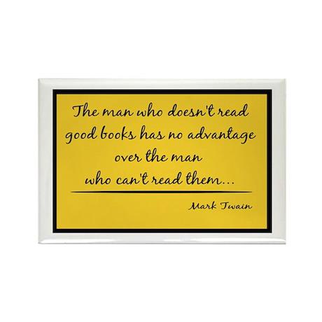 Twain Good Books--yellow Rectangle Magnet