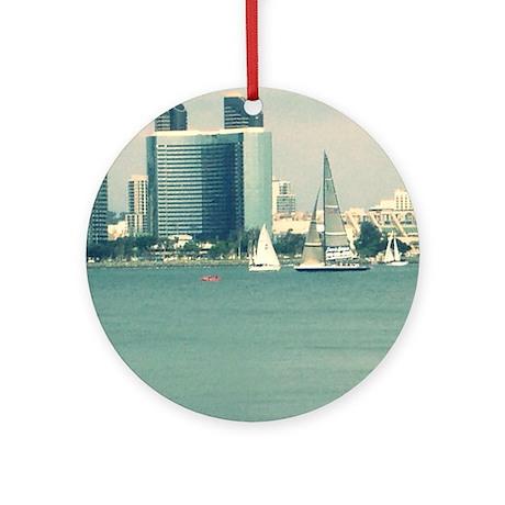 San Diego From Coronado Round Ornament