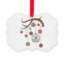 Birdcage And Flowers Ornament