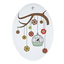 Birdcage And Flowers Ornament (Oval)