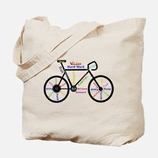 Bike made up of words to motivate Tote Bag