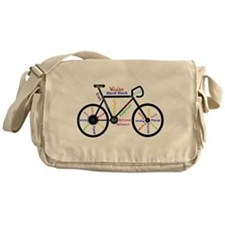 Bike made up of words to motivate Messenger Bag