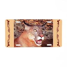 Surprised Cougar Aluminum License Plate