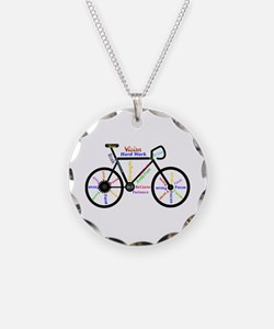 Bike Made Up Of Words To Mot Necklace