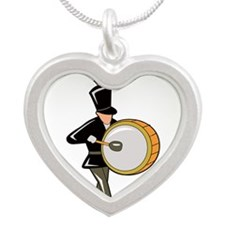 bass drummer marching black abstract Necklaces