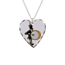 bass drummer marching black abstract Necklace