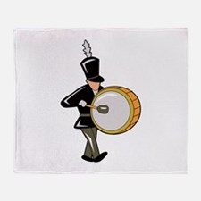 bass drummer marching black abstract Throw Blanket
