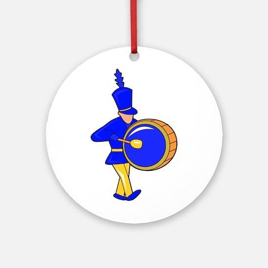 bass drummer marching blue abstract Ornament (Roun