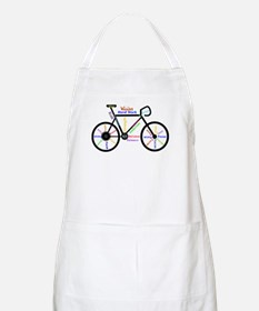 Bike made up of words to motivate Apron