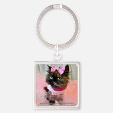 Cute Freida%2c the throw away kitty Square Keychain