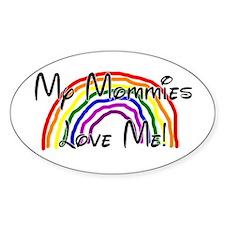 Rainbow Love Mommies Oval Decal