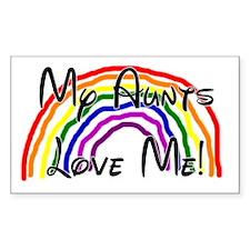 Rainbow Love Aunts Rectangle Decal