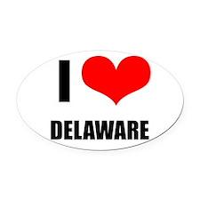 I Love Delaware Oval Car Magnet