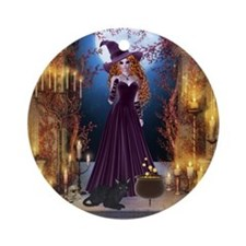 Halloween Witch Ornament (Round)