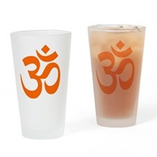 Orange Om Symbol Drinking Glass