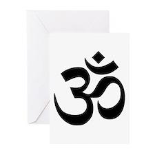 Black Om Symbol Greeting Cards