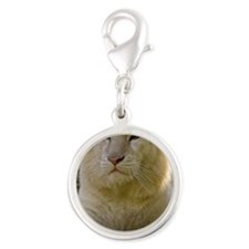 white lion Silver Round Charm