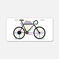 Bike made up of words to motivate Aluminum License