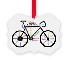 Bike made up of words to motivate Ornament