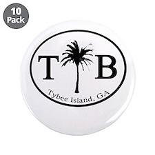 """Tybee Island, GA Euro Sticker 3.5"""" Button (10 pack"""