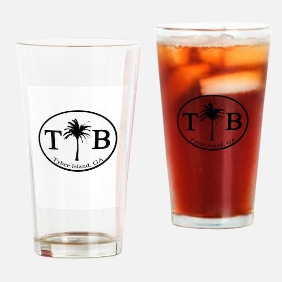 Tybee Island, GA Euro Sticker Drinking Glass