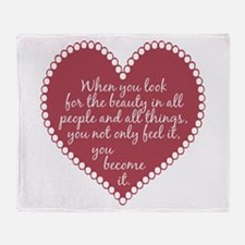 Inspirational Beauty Quote Throw Blanket