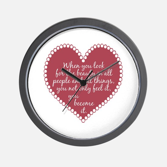 Inspirational Beauty Quote Wall Clock