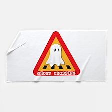 Cute Ghost Crossing Sign Beach Towel