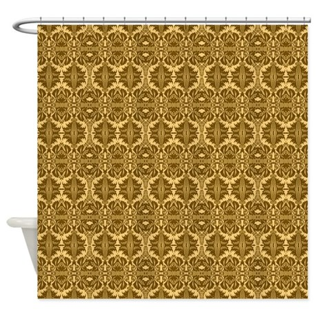 Elegant Vintage Brown And Gold Shower Curtain By GraphicAllusions