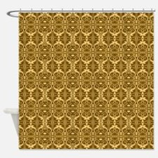 Elegant Vintage Brown and Gold Shower Curtain