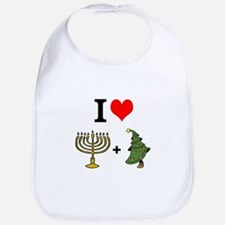 I Heart Hanukkah and Christmas Bib