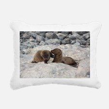 Baby Sea Lions Galapagos Rectangular Canvas Pillow