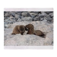 Baby Sea Lions Galapagos Throw Blanket