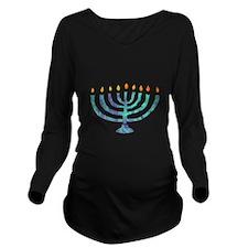 Menorah Long Sleeve Maternity T-Shirt