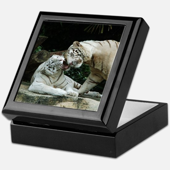 Kiss love and joy White Bengal Tigers Keepsake Box
