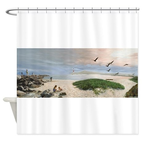 half moon bay painting shower curtain by travelphotofactory. Black Bedroom Furniture Sets. Home Design Ideas