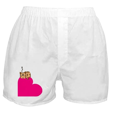 Sleepy Cat on Heart Boxer Shorts