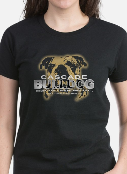 Bulldog Head Women's Black T-Shirt