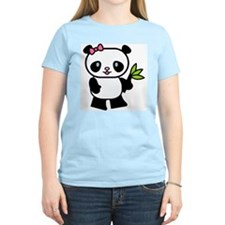 Cute Panda Women's Pink T-Shirt