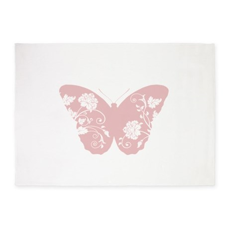 Pink Floral Butterfly 5'x7'Area Rug