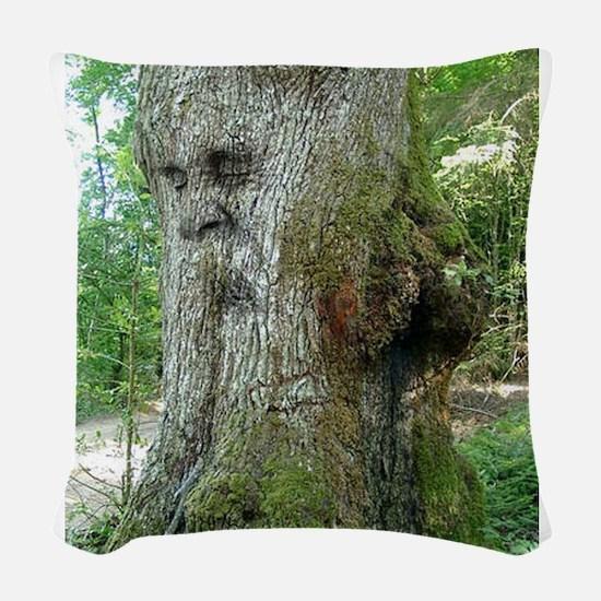 Laughing Green Man Woven Throw Pillow