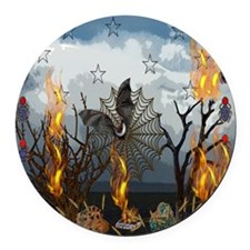 Fantasy Of Bat and Fire Round Car Magnet