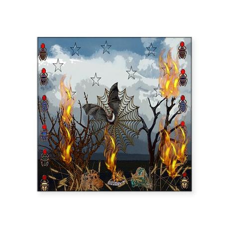 "Fantasy Of Bat and Fire Square Sticker 3"" x 3"""